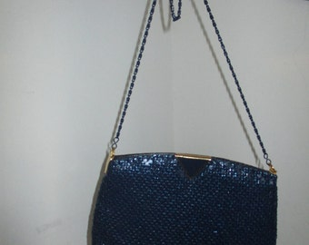 Womens Purse Blue Mesh with Long Blue Chain Strap ~ Formal Y&S Vintage Purse