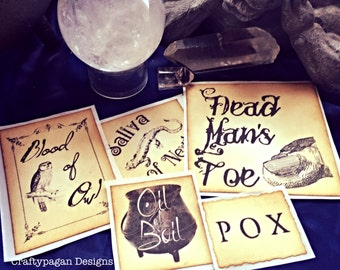 Hocus Pocus Label Sticker Selection-Vintage Style-SET of 5 Stickers