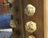Nautical Decor - 4 knotty door knobs - manila, hemp, sisal or cotton - rope drawer pulls