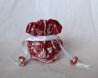 Jewelry Bag - Mini Size - Jewelry Pouch - Traveling Jewelry Pouch - Tote - RED THREAD