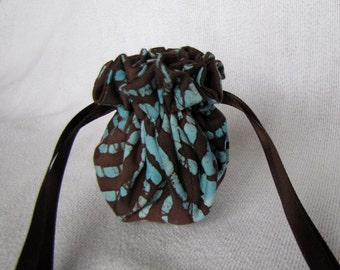 Drawstring Jewelry Bag - Mini Size - Fabric Travel Tote - Jewelry Pouch - SKY DANCE