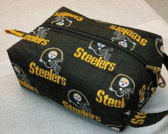 Pittsburgh Steelers handmade toiletry kit, shave kit, makeup bag, dopp kit