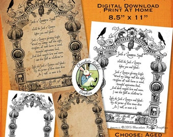 Halloween Witch Spell Book Page Digital Download Vintage Style Printable Book of Shadows Scrapbook Card Graphic Image Collage Sheet