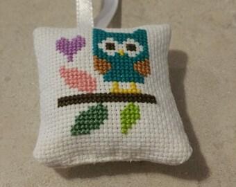 Cross Stitched Owl Mini Pillow Ornament