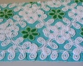 Jadeite and Emerald Green on Aqua Floral Vintage Chenille Fabric 19 x 28 Inches