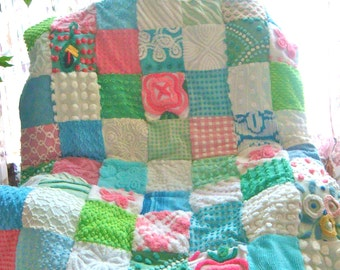 CUSTOM BABY QUILT Sample - Pink Bougainvillea and Tropical Waters Vintage Cotton Chenille Quilted Coverlet