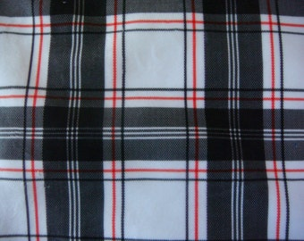 Tartan PlaidPolyester Minky Fabric 22 x 60 Inches Remnant
