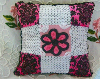 Paris Apartment Raspberry, Black and Carnation Pink Handmade Patchwork Minky and Vintage Chenille Pillow - Ready to Purchase
