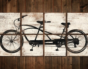 Large Tandem Bicycle Print - Custom Bike Wall Art - Rustic Bike Decor Vintage Bike Artwork 24x48