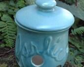 Turquoise, semi matte, garlic keeper, pot, kitchen, storage, canister, garlic