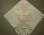 Handkerchief for Baptism  - 1 Machine embroidered custom handkerchief great for weddings, baptism or birthday
