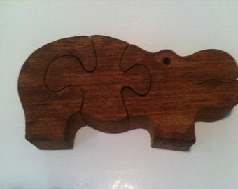 Vintage Wood Hippo Puzzle