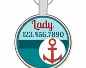 Yacht Club Nautical Personalized Dog ID Pet Tag Custom Pet Tag You Choose Tag Size & Colors