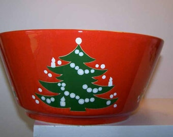 Waechtersbach, Christmas Tree, Large Serving Bowl, Red Pottery, Green Trees, White Stars, German Pottery, Vintage