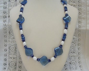 Blue and white glass necklace