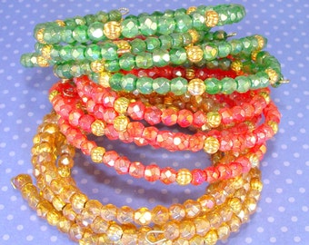 6 Beaded Bangles Christmas Holiday Bracelets Assorted Red Green Topaz Faceted Crystals Memory Wire Stocking Stuffer Party Favor Gift Bulk