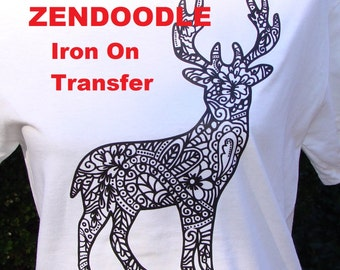 Adult Coloring Reindeer Deer TRANSFER Iron On Adult Coloring Page for T Shirts Totes DIY w Fabric Markers - Holiday Gift Party Favor