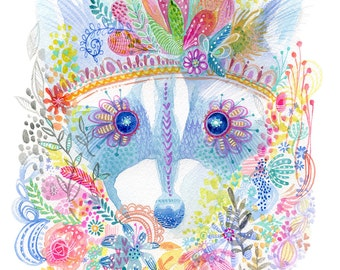 Pixie Raccoon PRINT for Nursery - Animal Art for Girl Nursery - Kids ARt - ANimal Kids ARt - Kids ARt with Flowers - Whimsical Wall Art