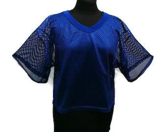 Vintage Royal Blue Vneck Mesh Net Top Vintage V Neck T Shirts Royal Blue V Neck Shirt Vintage Style T Shirts Mesh Shirts Sheer Mesh Tops