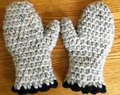 Crochet Mittens, Oatmeal, Black Trim, Chunky Wool Bend, Birthday Gifts, Gifts for Woman, Teens, Girls, MIT808