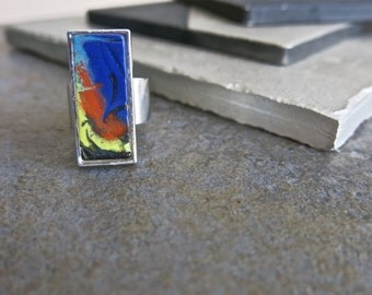 Hand Made Fused Glass Adjustable Ring, Adjustable, Silver Plated, Abstract