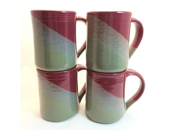 Set of 4 Handmade ceramic mugs , Slate gray / Raspberry combination