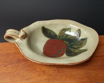 Stoneware Oval Bowl Plate With Handle ~ Apple Design ~