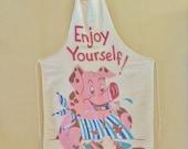 Vintage 50's Vernon Mcquiddy 'Enjoy Youself' Full Bib Piggy Apron