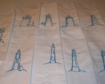 9 Machine Embroidered lighthouses
