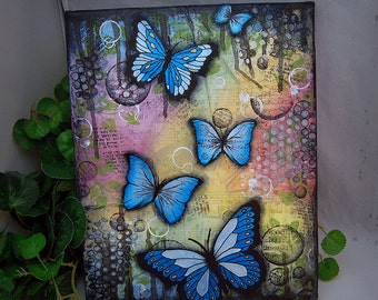 Original Mixed Media Blue Butterfly Art Canvas Painting, Home Decor, Wall Hanging