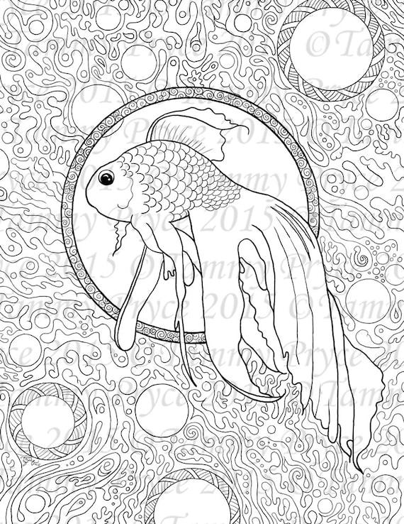 Fantasy Fish Zen Doodle Adult Coloring Page Digi Stamp