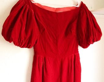 Vintage 1960s Red Velvet Pouf Sleeve Dress