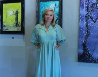 ON SALE 50% OFF Vintage Mint Green Dress - 1930s Inspired Day Dress. 1980s Vintage