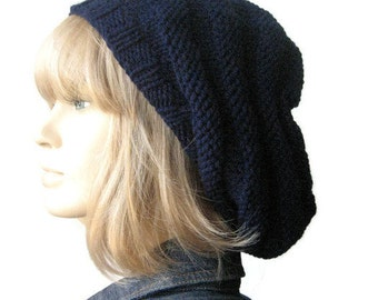 Navy Hand Knit Hat, Beehive Beret, Vegan Hat, Blue Slouchy Beanie, Navy Knit Beret, Winter Hat, Fall Fashion, Womens Hat