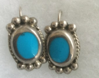 Vintage Mexican Sterling Silver Turquoise Earrings