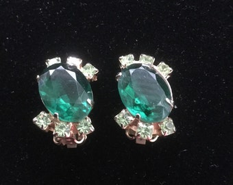 Vintage Green Rhinestone Holiday Earrings 1960s