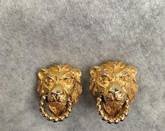 Vintage Mimi Di N Lion Doorknocker Earrings