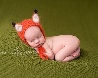 Fox Newborn Photo Prop Baby Bonnet Infant Hand Knit Costume Hat Girl Animal Prop Mohair Boy Cap Going Home Knitted Outfit Coming Home Bonnet