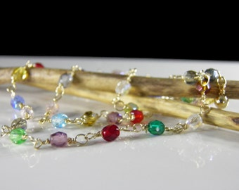 Multi-Color Swarovski Crystal & Gold Necklace - Gold and Crystals