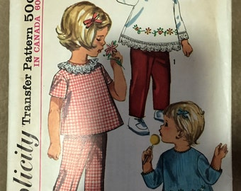 Simplicity 6236  Size 3  Toddlers Top and Pants.    1956 Sewing Pattern