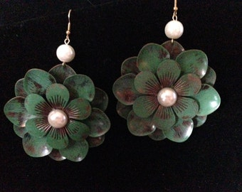 Earrings - Teal and Brown Flower