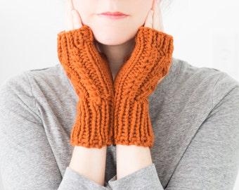 Knit Fingerless Gloves, Hand Knitted Fingerless Mittens, Cable Knit Wool Winter Gloves, Winter Accessories - Aspen Mittens
