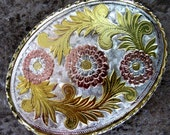 Vintage Belt Buckle W Gold Silver Copper Metal Braid Edging Floral Leaf Scroll Made in the USA