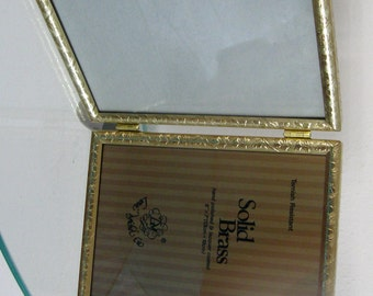 Vintage Picture Frame Brass Metal Loui Michel Cie Ornate Gold Tone Bi Fold  Hinged 1980s 5 by 7