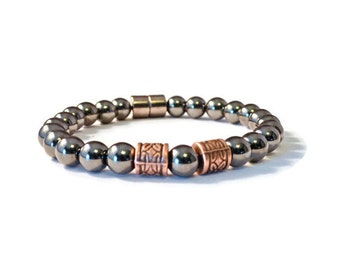 Black Magnetic and Copper Magnetic Therapy Bracelet for Men, Health Jewelry