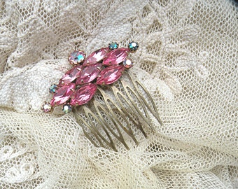 pink rhinestone hair comb small upcycle jewelry recycle