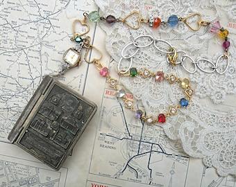 religious Reliquary box pendant necklace assemblage Catholic trinket treasure upcycled jewelry