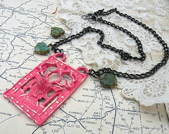 necklace pink deer necklace assemblage woodland handpainted