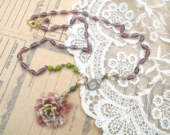 spring peony necklace assemblage blossom