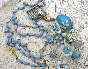 rosary assemblage necklace horse blue enamel flower pin recycle